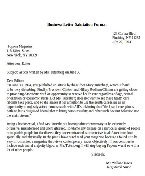 Official Letter Greetings Sle Sle Business Letter Salutation 5 Exles In Word Pdf