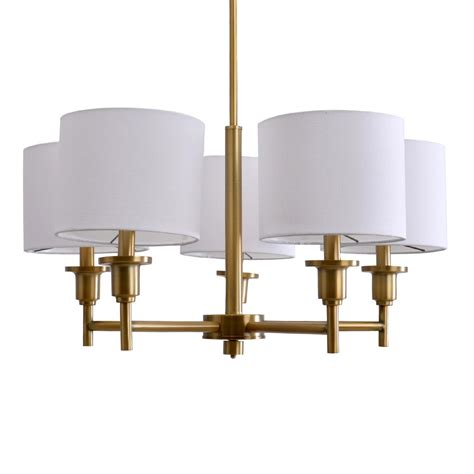 White Chandelier With Shades A 5 Light Brass Chandelier With White Linen Shades 19742 001 The Home Depot
