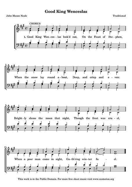 Good King Wenceslas Voz, SATB - Partituras - Cantorion