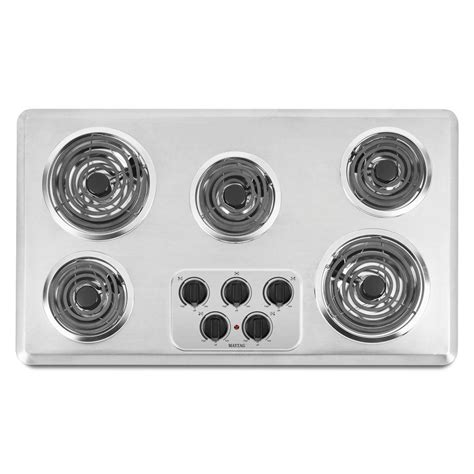 36 Inch Electric Coil Cooktop maytag 36 in coil electric cooktop in brushed chrome with 5 elements mec4536wc the home depot