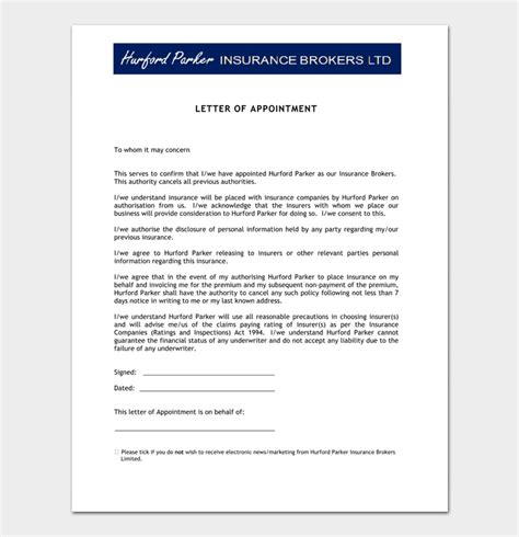 appointment letter for agency sle appointment letter template 14 sle letters