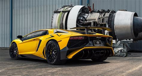 Lamborghini Jet Engine Lamborghini Aventador Sv Poses Next To Jet Engines