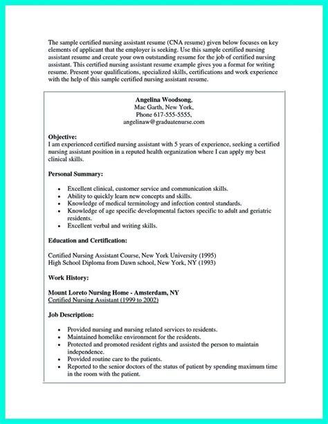 Sample Cna Resume Objective