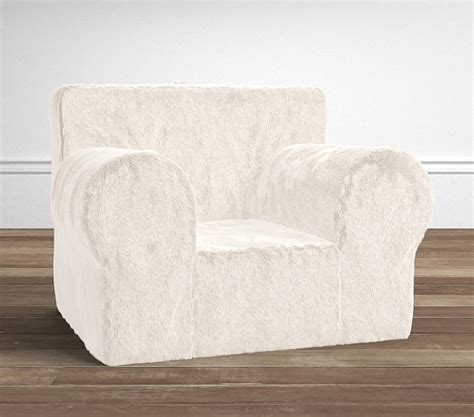 pottery barn kids slipcover ivory faux fur oversized anywhere chair 174 slipcover only