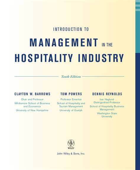 Scope Of Be Mechanical Mba by Introduction To Management In The Hospitality Industry