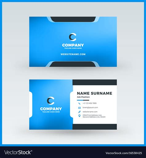 Double Sided Horizontal Business Card Template Vector Image Sided Business Card Template Free