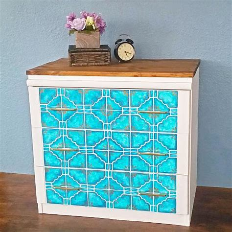 Custom Painted Dresser by Custom Painted Tile Dresser Upcycle Project By Decoart