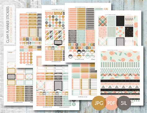 free printable planner set free monthly printable planner stickers set shabby chic