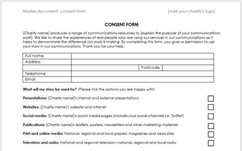 Case Study Consent Form Template Charitycomms Free Consent Form Template