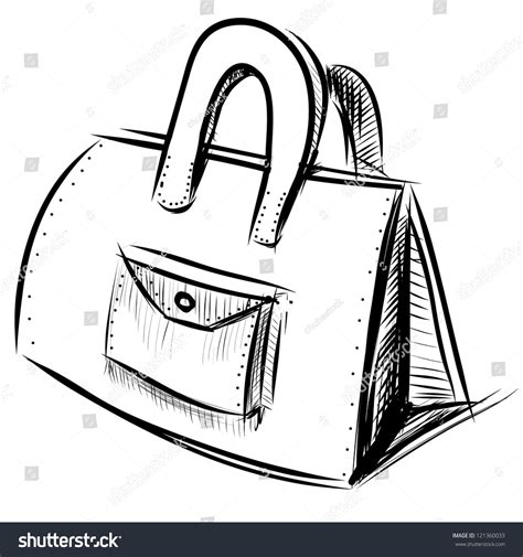 diagram sketch bag isolated on white stock vector 121360033