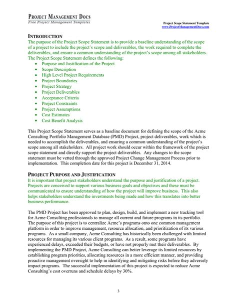 scope statement template project scope statement template in word and pdf formats