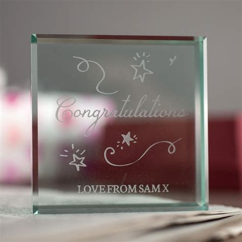personalised glass token congratulations