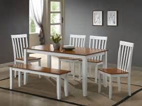 White kitchen table with bench and chairs 6 piece packagemade of solid