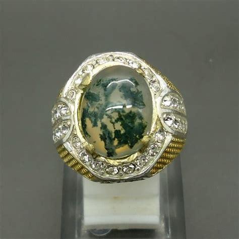Batu Akik Badar Lumut Putih Ap455 cincin batu daun badar lumut pusaka dunia