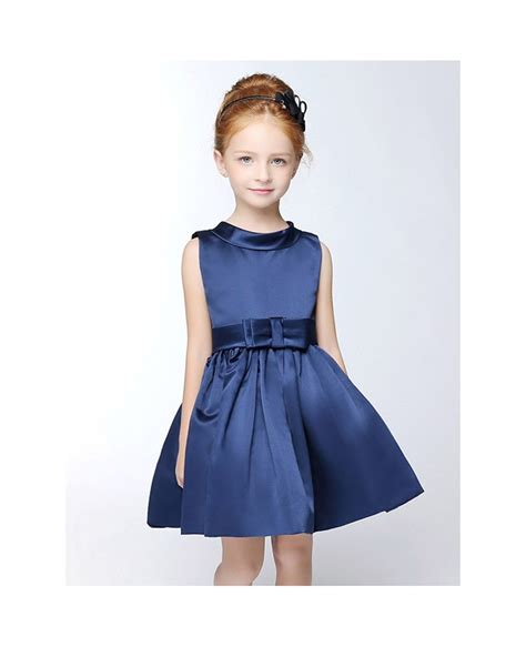 navy blue simple satin short collared flower girl dress