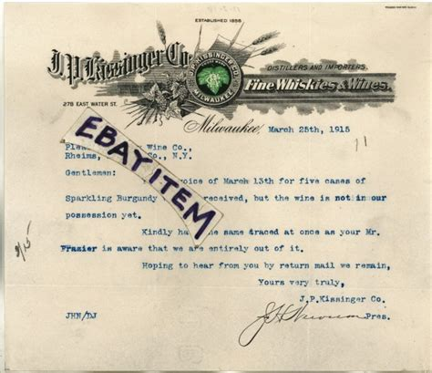 Js Bank Letterhead Letterhead Whiskey Shop Collectibles Daily