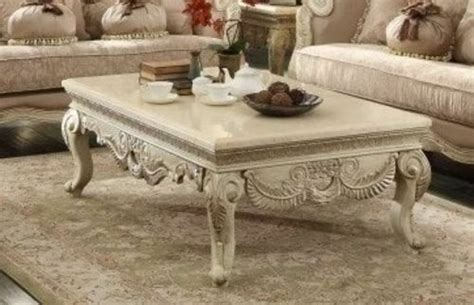 2 pc provincial antique white marble top coffee