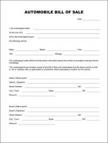 automotive bill of sale template automobile bill of sale form