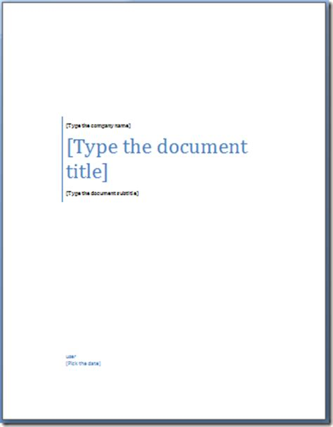 word title page templates fax cover sheet template word 2007 toyfile