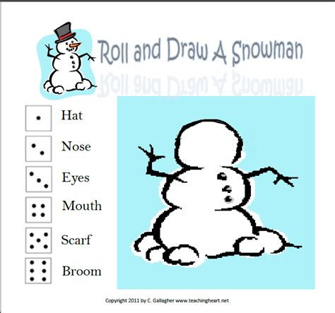 printable snowman dice game rolling out a turkey and a snowman teaching heart blog