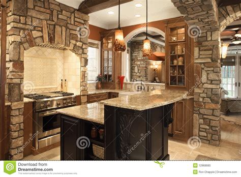 Ceiling Lights Kitchen kitchen interior with stone accents in affluent ho stock