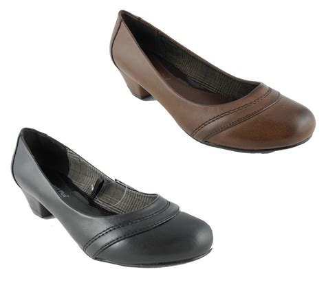 womens wide fit fitting low heel court shoes brown