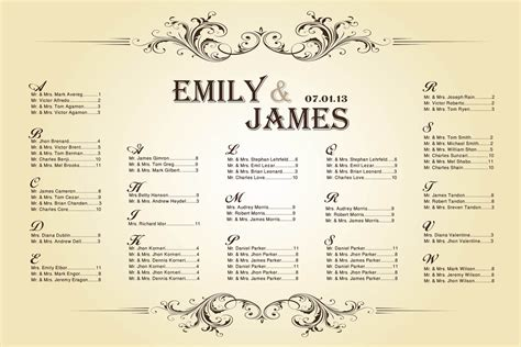 seating chart template for wedding 6 best images of printable wedding table seating chart