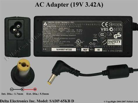 Adaptor Notebook Delta 19v 342a delta electronics sadp 65kb ac adapter laptop sadp 65kb d ap 06501 008 ap 06501 007