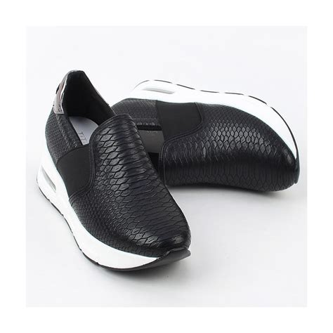 womens black slip on sneakers s synthetic snake pattern leather air thick platform