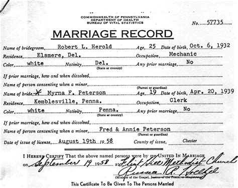 Phila Marriage Records Copy Of Marriage Certificate Pennsylvania Images