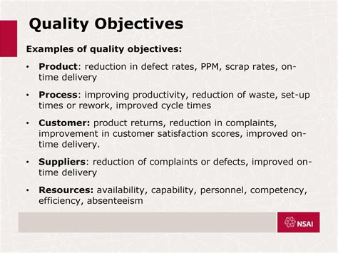 quality objectives template i s en iso 9001 2015 mr tighe lead auditor nsai