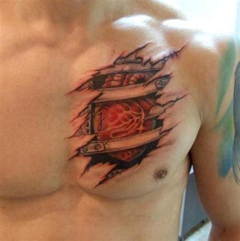 torn ripped skin real heart tattoo on man chest