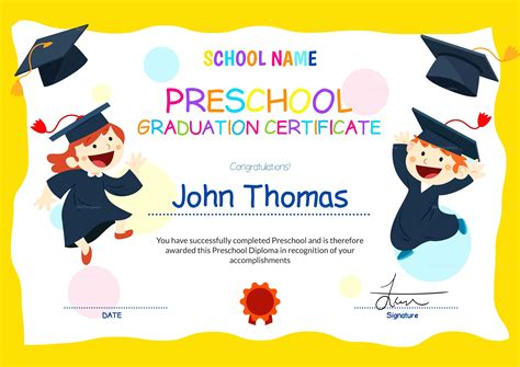 template for preschool template preschool graduation template