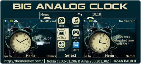 themes big clock big analog clock theme for nokia c3 00 x2 01 205 asha