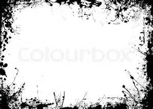 abstract black and white ink border with copy space