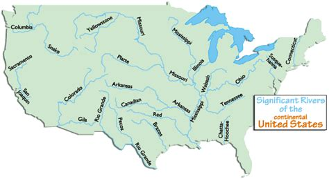 america map rivers usa major rivers and mountains headwatersof rivers in