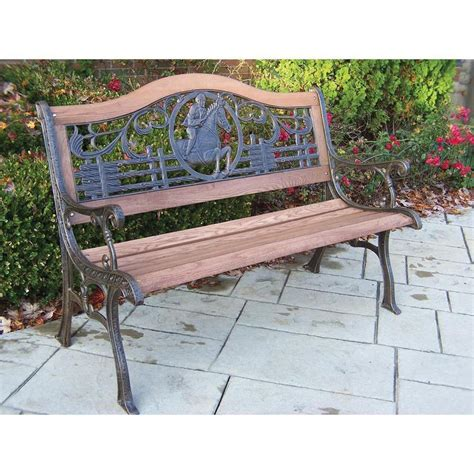 cast iron park benches horse theme pattern back wood and cast iron park bench