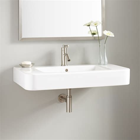 Kitchen Sink Shower 34 Quot Burleson Porcelain Wall Mount Sink Wall Mount Sinks Bathroom Sinks Bathroom