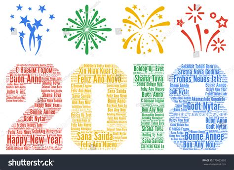 why is new year different to uk happy new year 2018 different languages stock illustration
