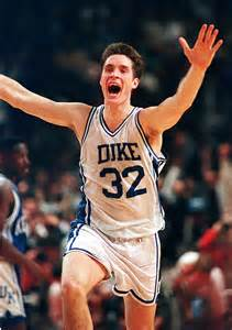 Christian laettner celebrates his 1992 game winner against kentucky
