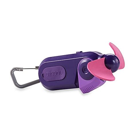 o2 cool clip fan o2 cool 174 sport carabiner misting fan in purple bed bath