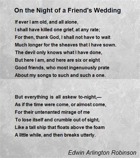 images for a friend on the of a friend s wedding poem by edwin arlington