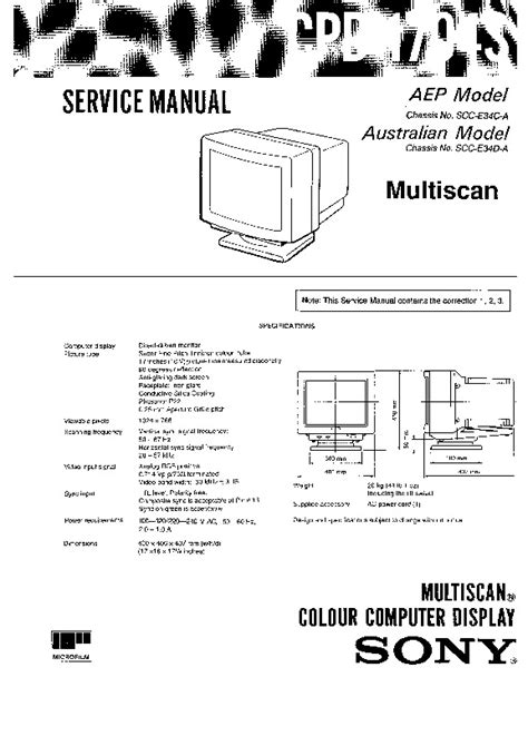 Sony Monitor Service Manuals Free Download