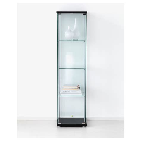 ikea display detolf glass door cabinet black brown 43x163 cm ikea