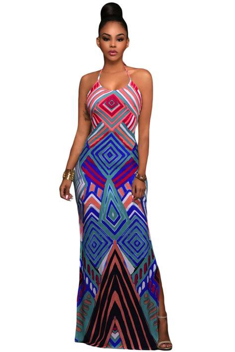geometric pattern maxi dress chic geometric pattern boho style maxi dress with slit