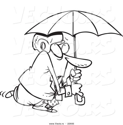 Artline Spidol Brush Tip Drawing Dan Colouring vector of a paranoid businessman wearing a helmet an umbrella coloring page