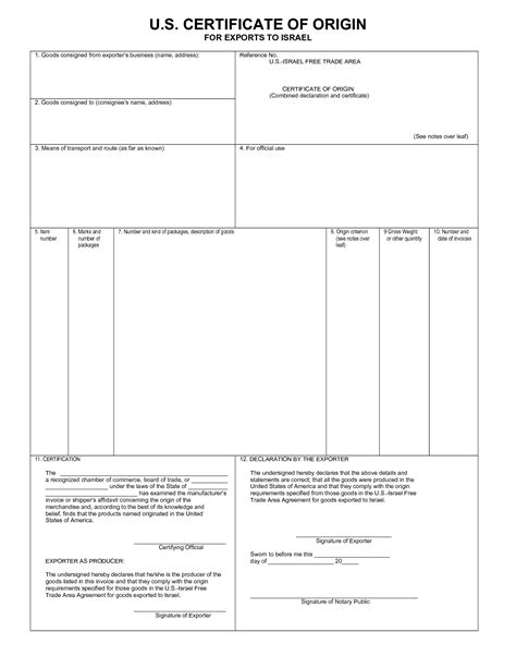 certificate of origin form template doc 550712 blank certificate of origin certificate of