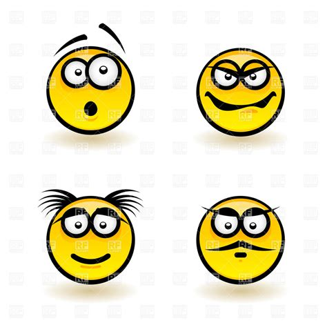 clipart emotions emotions smiley icons haughty gloat and surprised royalty