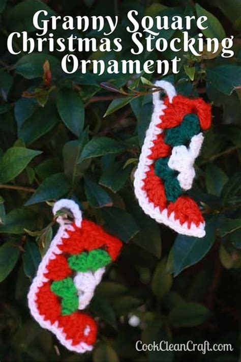 beginner crochet pattern for christmas stocking granny square christmas stocking ornament cook clean craft
