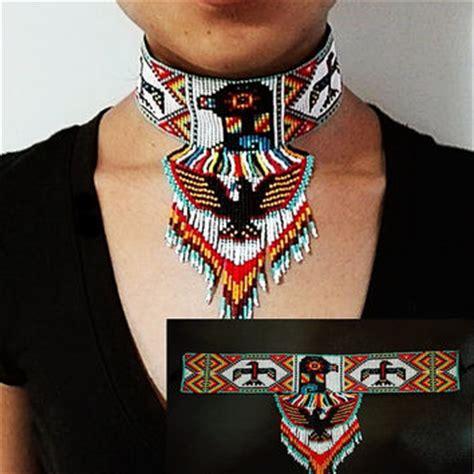 Beaded Eagle Choker beaded huichol earrings yellow dangling from